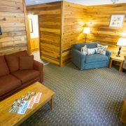living room in two bedroom cabin