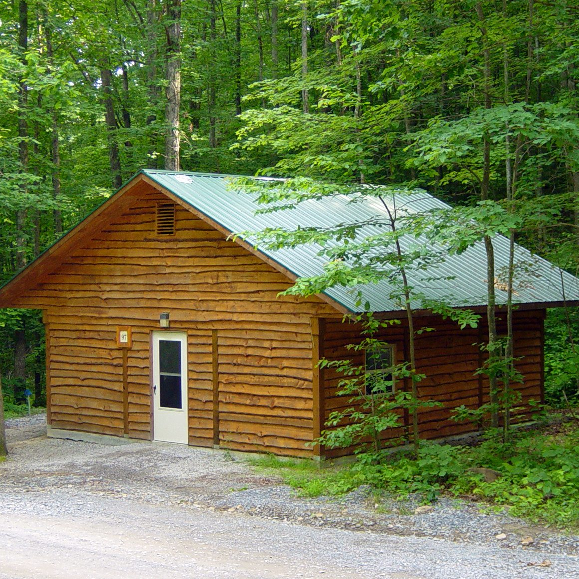 A large bath and bunk house nestled in the woods at ACE Adventure Resort