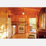 The charming kitchen inside a ridgeview retreat cabin