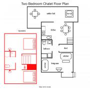 two-bedroom chalet floorpan
