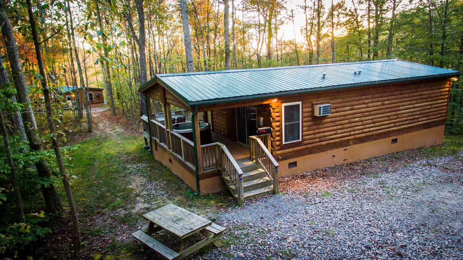 The sun sets over a ridge view retreat cabin