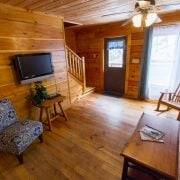 the spacious living area at the Red Fox Log Home