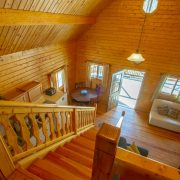 A view from the loft in an aspen log home at ACE Adventure Resort