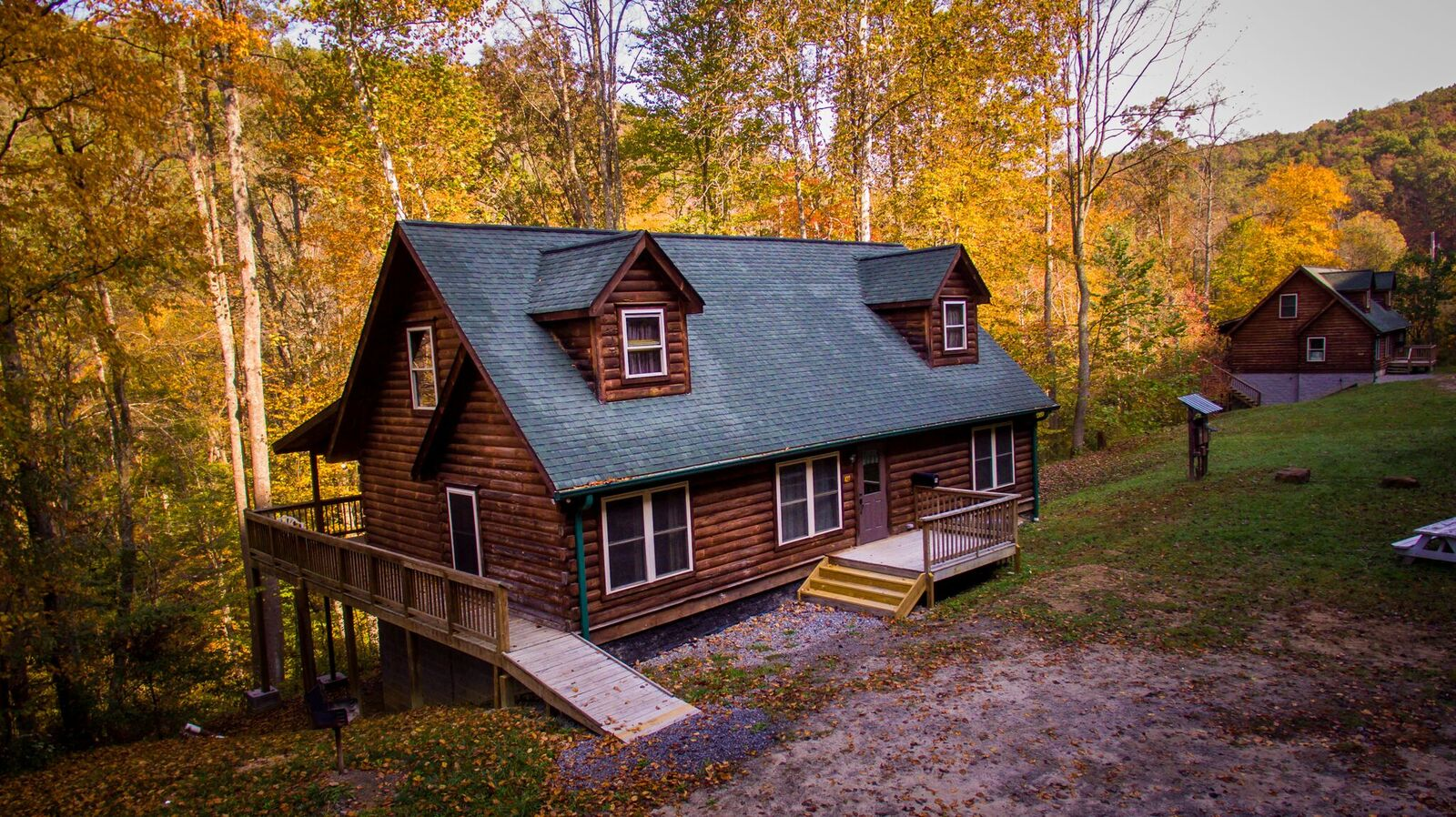 A stunning view of the Grey Fox Log Home