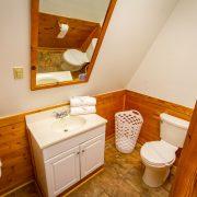 A beautiful bathroom inside an A-Frame chalet