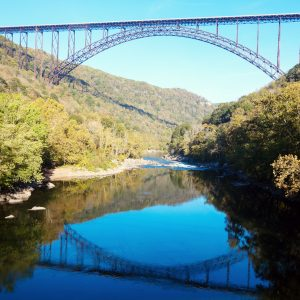 A magnificent view from the bottom of the new river gorge bridge