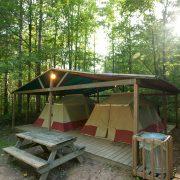 group tents on platform