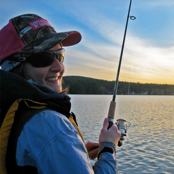 A woman fishes at summersville lake