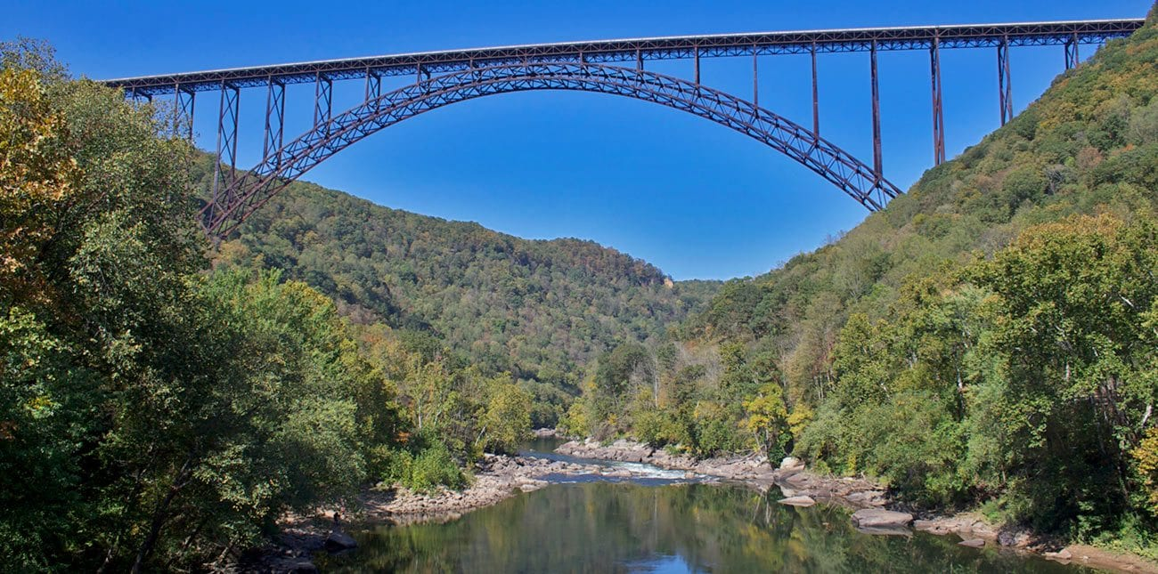 New River Gorge bridge spanning over the river and national recreation area
