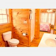 A luxurious bathroom within the black bear log cabin