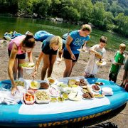 A group eating Riverside for lunch