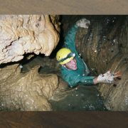 A man climbing at lost world caverns