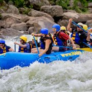A group of 9 tackles white water on the Lower New River