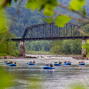 7 rafts floating down the scenic lower new river