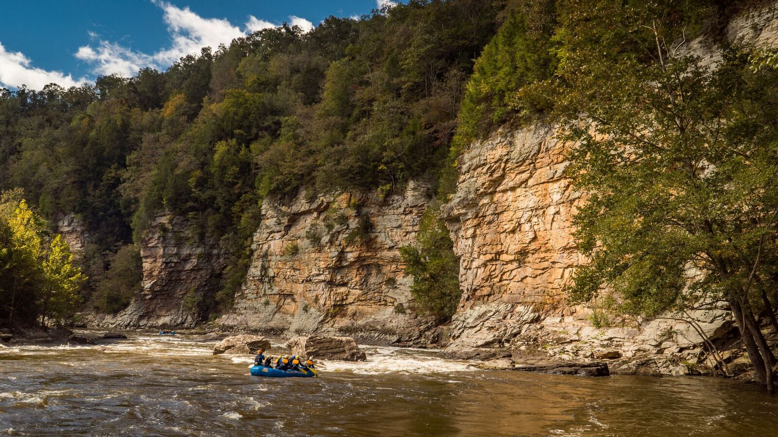 A raft passing a canyon wall on the Lower Gauley