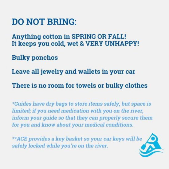 items to not bring with you rafting