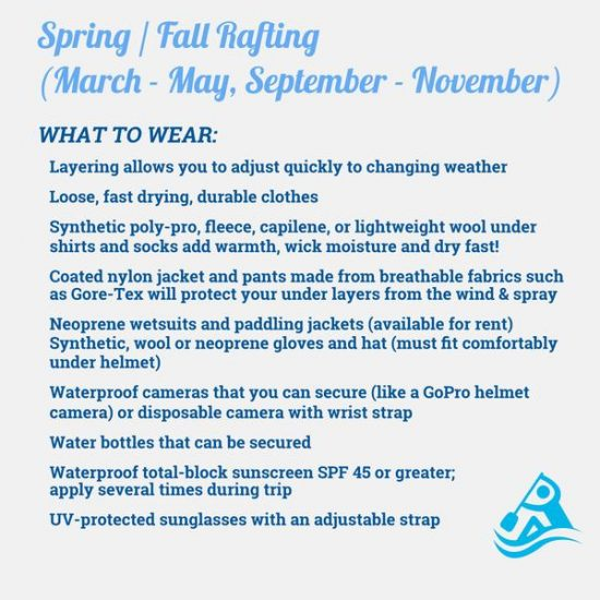 spring and fall rafting what to wear
