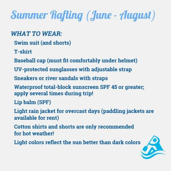 what to bring for summer rafting