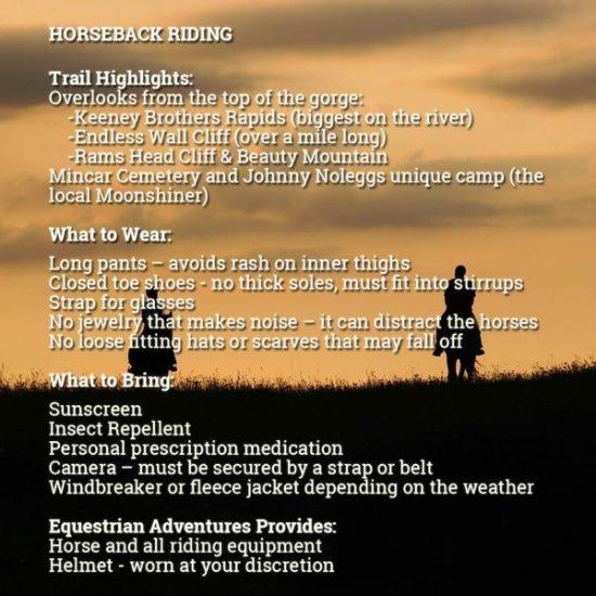horseback riding items to bring