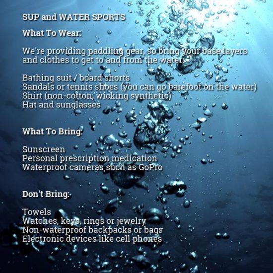 SUP and Kayak information