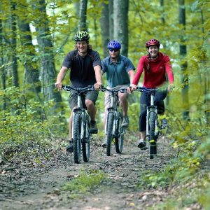 mountain bikers ride happily through the woods