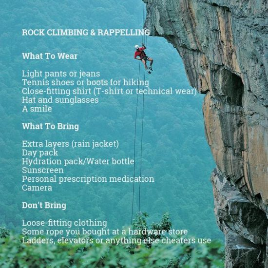rock climbing things to bring and not bring