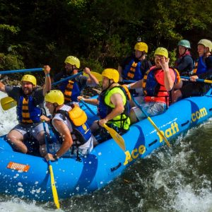 A group celebrates as they push through the rapids fo the upper gauley