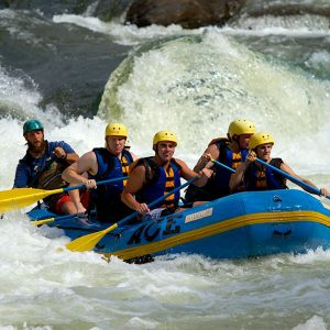 a group takes a moment to enjoy the upper gauley