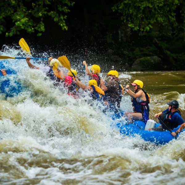 A Raft pushes through a high rapid