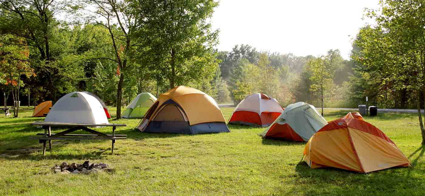 Tents set up for camping atop Wonderland Mountain.