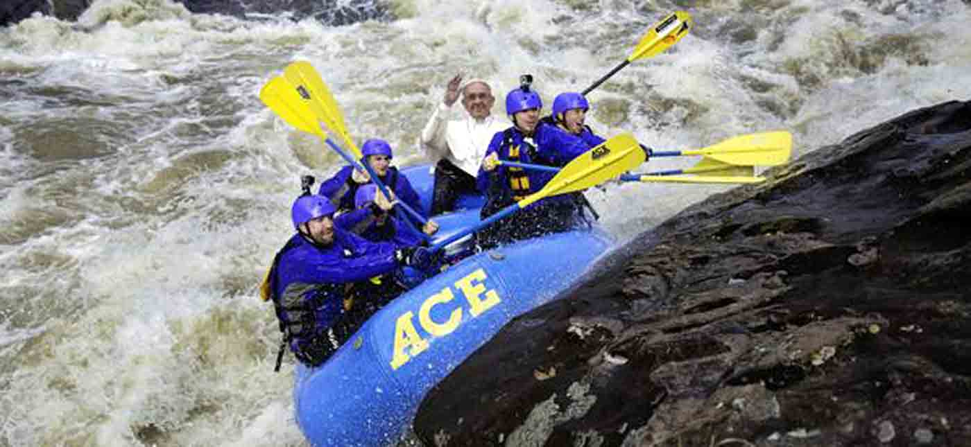 Pope Frances hits up pillow rock in an ACE raft on the Gauley River in West Virginia.