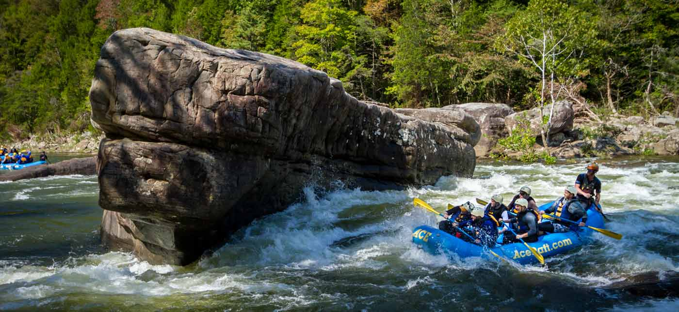 A whitewater rafting tour of the Gauley River in West Virginia featuring the rock formation and rapid named Shipwreck with an ACE raft