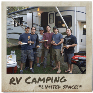 Friends enjoy an RV site at ACE Adventure Resort.