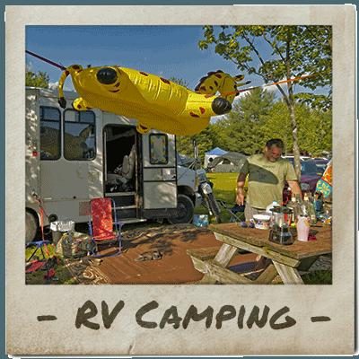 Festival goers enjoy an RV campasite at ACE Adventure Resort
