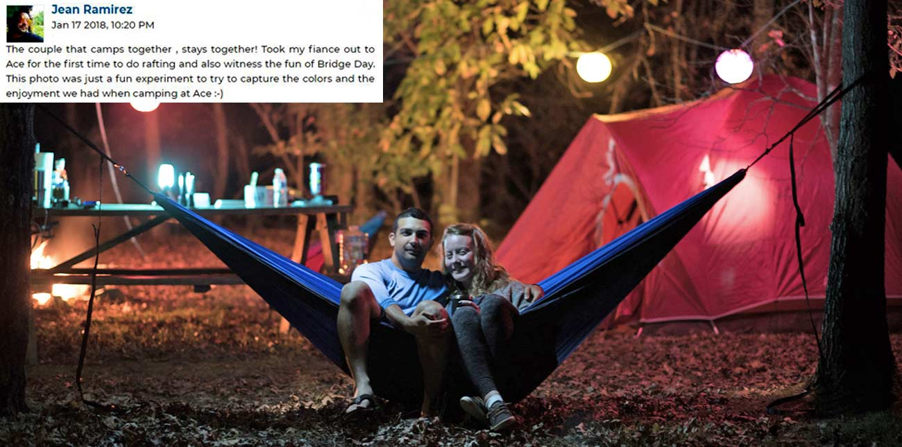 A couple enjoys swinging in a hammock at their ACE campsite on their vacation.