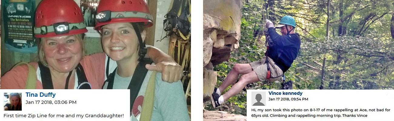 Ziplining and rock climbing at ACE Adventure Resort in WV.