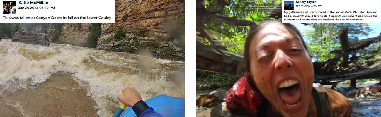 A rafters view of canyon doors (left) and a participant in the Gritty Chix Mud Run at ACE Adventure Resort (right).