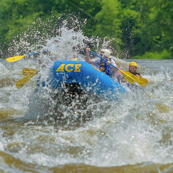 A head on shot of a raft running a huge spring rapid on the New River Gorge white water rafting with ACE.