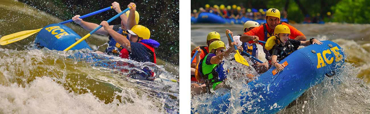Rafters hit huge spring waves rafting on the New River Gorge in West Virginia with ACE.