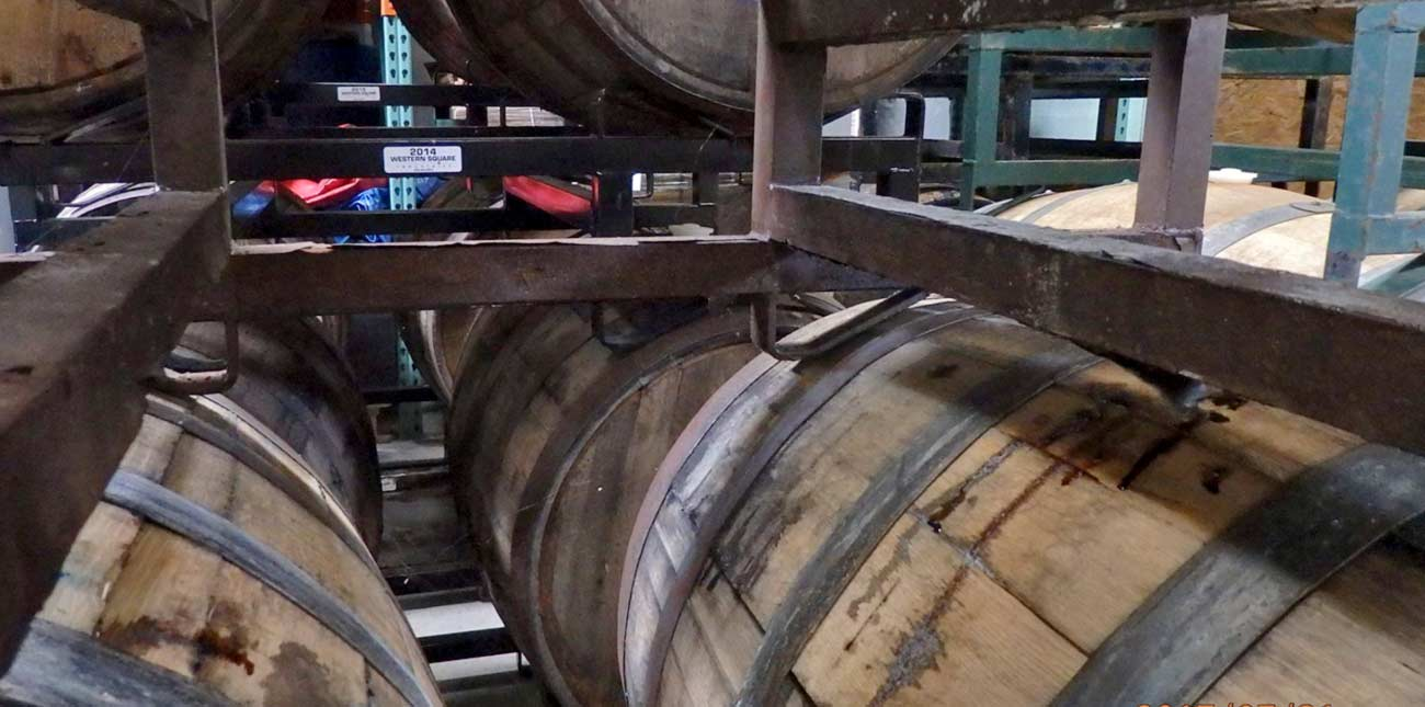Oak barrels at Bridge Brew Works as part of the beermaking process