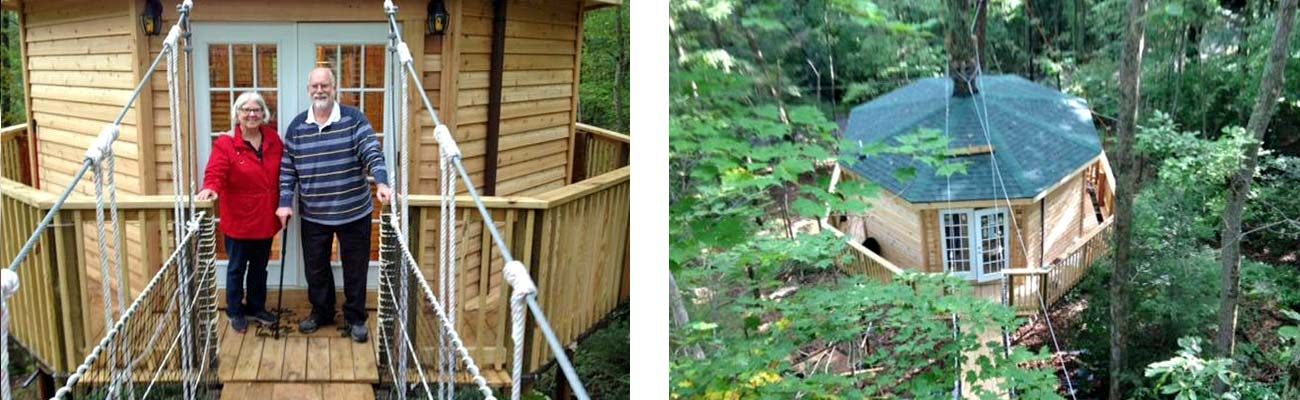 The new treehouse cabin is perched in the trees at Country Road Cabins.