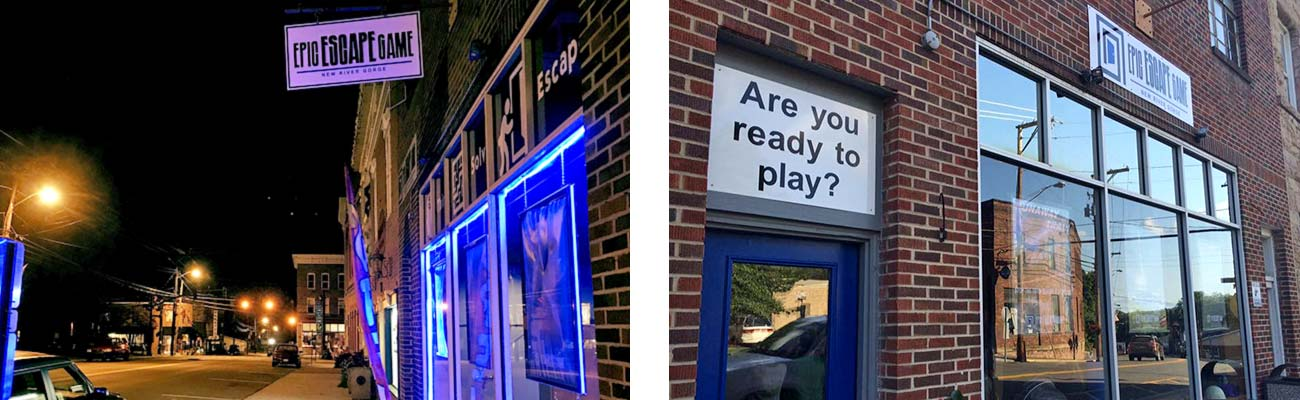 The brick exterior of Epic Escape Game New River Gorge at night and during the day in downtown Fayetteville, West Virginia.
