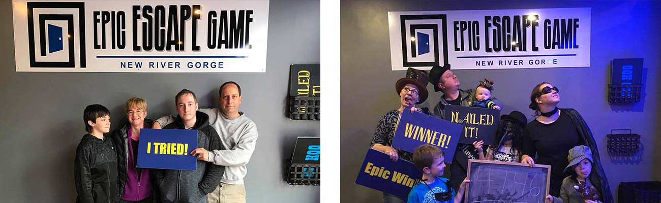 "A family poses with ""I tried"" signs next to a fmaily group holding ""Winner"" signs at Epic Escape Game New River Gorge."