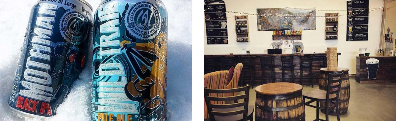 Cans of Mothman Black IPA and Wild Trail Pale Ale from Greenbrier Valley Brewing Company sit chilling in the snow. A view of the tap and tasting room at GVBC.