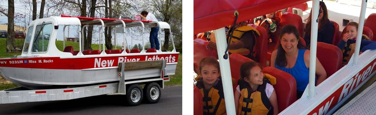 A jetboat from New River Jetboat is taken to the river by boat trailer, and a family awaits their Jetboat trip at New River Jetboats at Hawk's Nest in Ansted, West Virginia.
