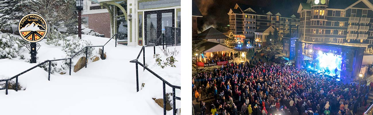 The snowy exterior of Cheat Mountain Pizza, and a crowd watching an outdoor concert at Snowshoe Mountain in West Virginia.