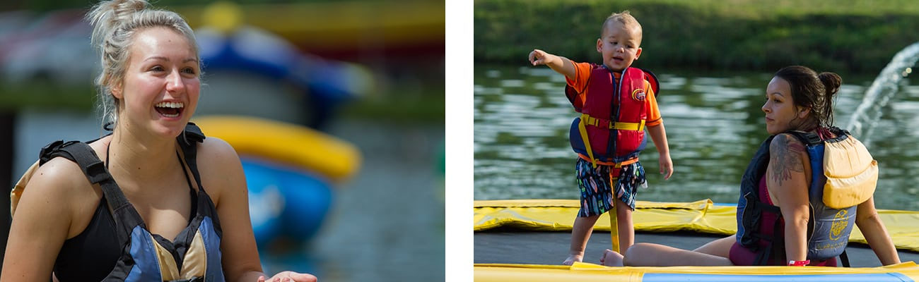 Guests swim at ACE Lake and jump on the floating trampoline in Wonderland Waterpark at ACE Adventure Resort, one of the best West Virginia family resorts.