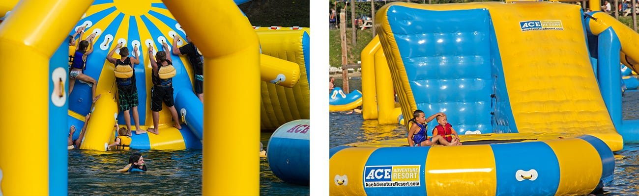 Inflatable climbing toys and floating trampoline float on ACE lake at West Virginia Family Resort Wonderland Waterpark at ACE Adventure.