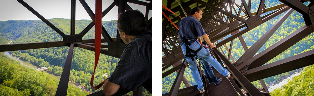 A family views the Gorge from above on a New River Bridge Cat Walk Tour with ACE Adventure Resort in West Virginia.
