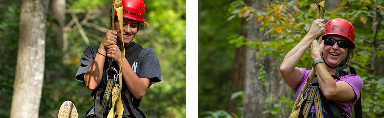 Women fly through the trees on the gravity brake zip line course at ACE Adventure Resort in the New River Gorge.